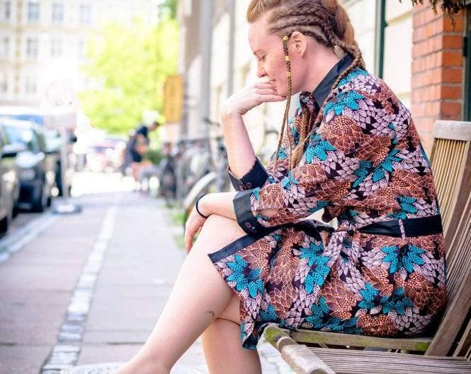 S, M, L, XL. African print shirt dress. Handmade and unique. GTP fabric. Ankara. Wax africain. Batik. 100% cotton. Made in Ghana.