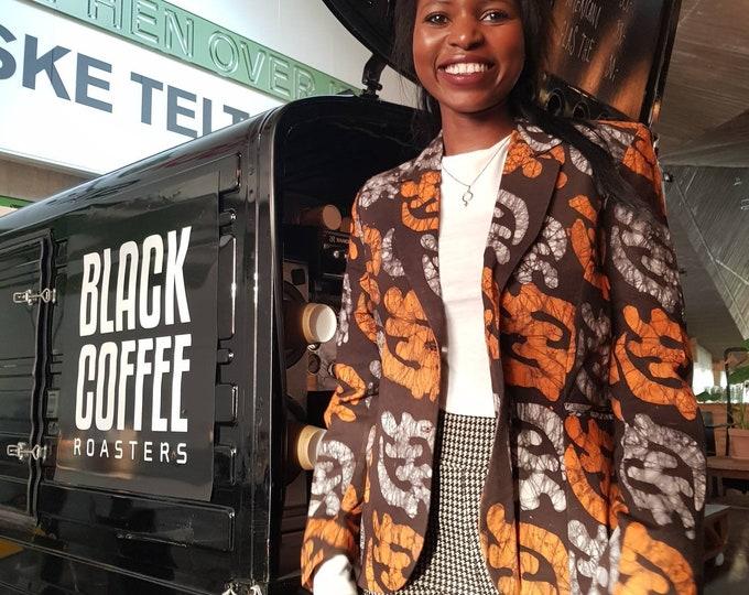S. Batik blazer jacket west african pattern. 100% cotton. Made in Ghana.
