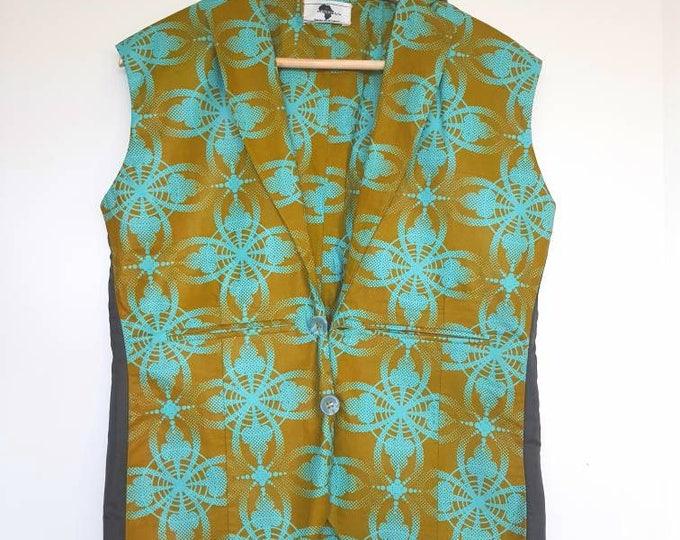 S. African print vest. Ankara. Wax africain. Made in Ghana.
