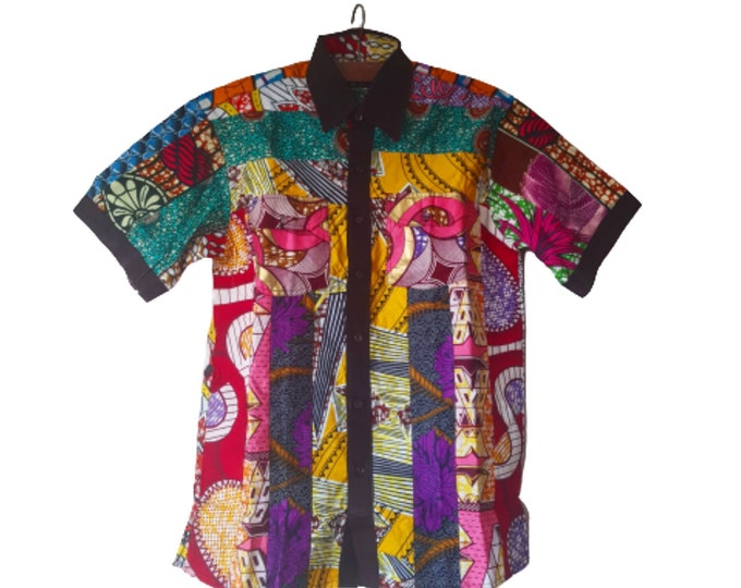 S. Beautiful african print unique shirt for men. Best quality. Waxprint cotton fabric. Handmade in Ghana.