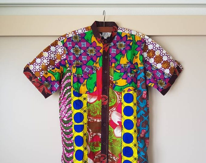 M. Beautiful african print unique shirt for men. Best quality. Waxprint cotton fabric. Handmade in Ghana.