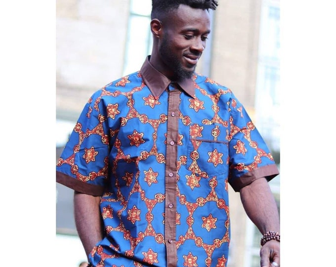 2XL, 3XL. Beautiful african print unique shirt for men with matching trousers. Best quality. Waxprint cotton fabric. Handmade in Ghana.