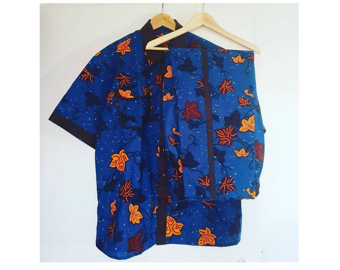 XL. Beautiful african print unique shirt for men with matching trousers. Best quality. Waxprint cotton fabric. Handmade in Ghana.