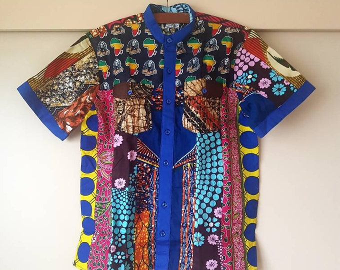 L or XL. Beautiful african print unique shirt for men. Best quality. Waxprint cotton fabric. Handmade in Ghana.