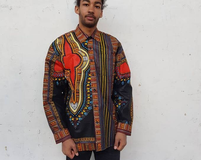 XL. Dress shirt african print. Long sleeves. Very elegant urban style. Wax fabric. Dashiki. Cotton. Handmade in Ghana.
