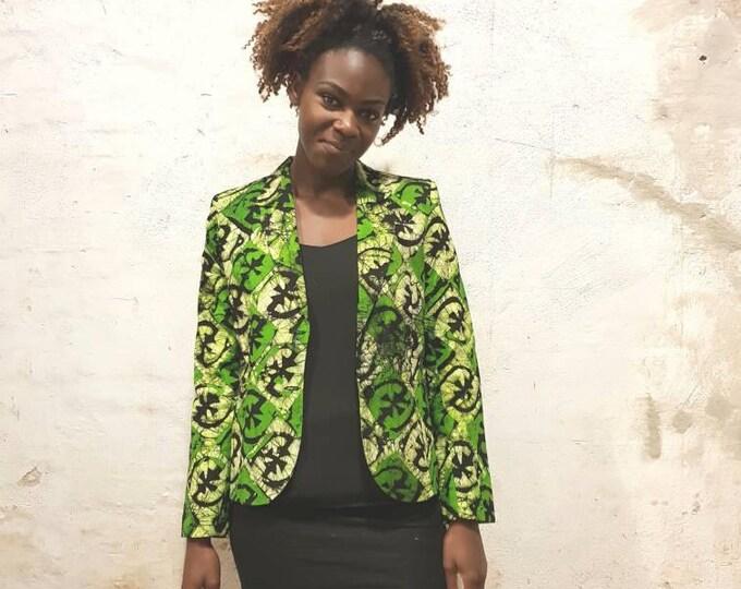 M. Batik blazer jacket west african pattern. 100% cotton. Made in Ghana.