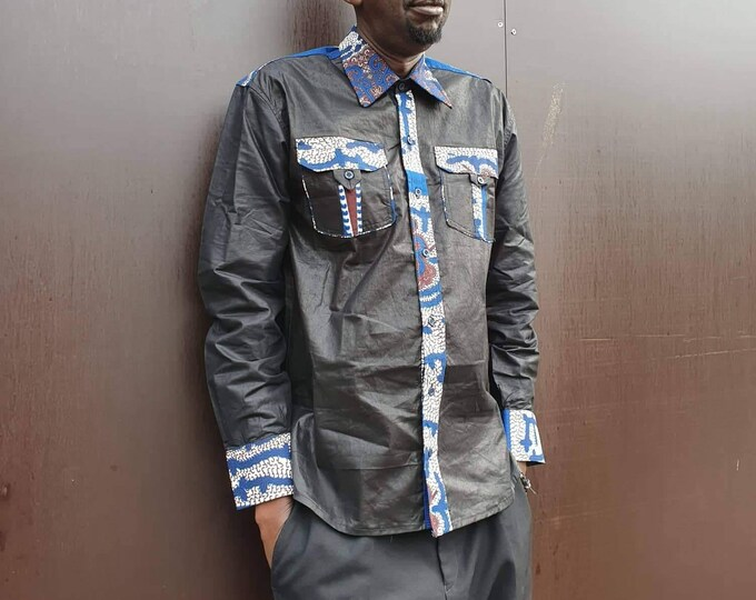 S. New arrival !!! Beautiful african print unique shirt for men. Best quality batik. Black and waxprint cotton fabric. Handmade in Ghana.