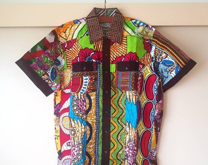 2XL. Beautiful african print unique shirt for men. Best quality. Waxprint cotton fabric. Handmade in Ghana.