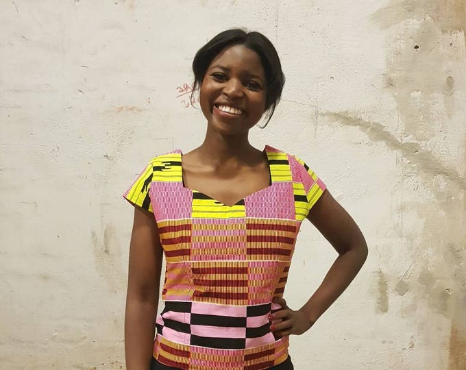 XS. African print top. Party or casual ankara wax fabric top. Womens top. Wax africain. 100% cotton top. Made in Ghana.
