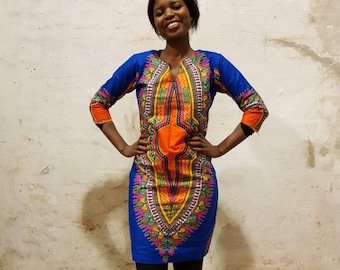 1a713d8116dde XS. Dashiki style african print dress. Fully lined party or casual wear.  Blue dashiki wax fabric. Cotton. Made in Ghana.