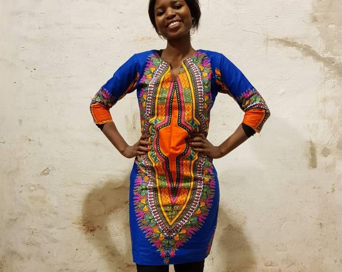 XS. Dashiki style african print dress. Fully lined party or casual wear. Blue dashiki wax fabric. Cotton. Made in Ghana.