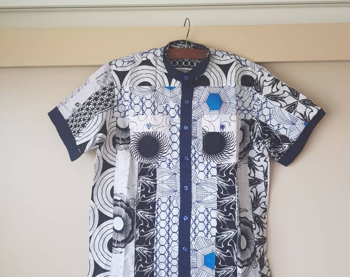 L. Beautiful african print unique shirt for men. Best quality. Waxprint cotton fabric. Handmade in Ghana.