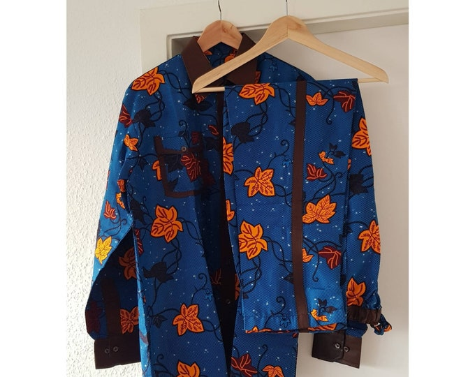 M, L. Beautiful african print unique shirt for men with matching trousers. Best quality. Waxprint cotton fabric. Handmade in Ghana.