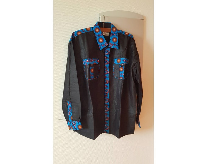 2XL, 3XL. New arrival !!! Beautiful african print unique shirt for men. Best quality. Black and waxprint cotton fabric. Handmade in Ghana.