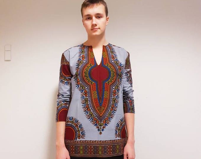M. Dashiki style african print shirt. Fully lined party or casual wear. Grey dashiki wax fabric. Made in Ghana.