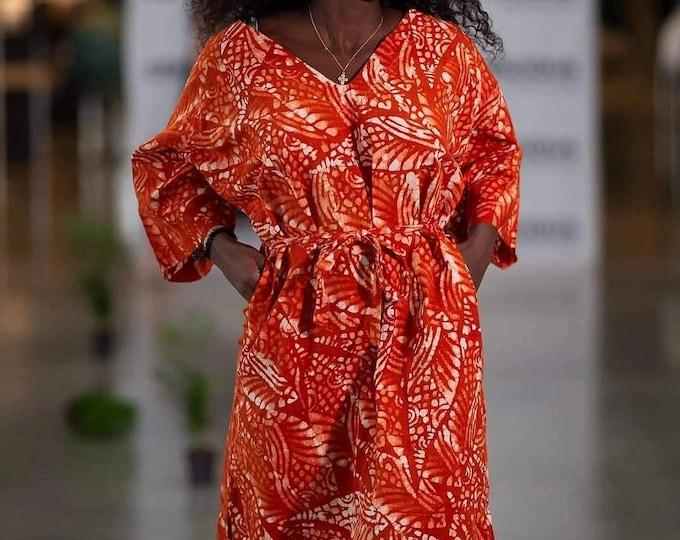 L, XL, 2XL. Organic cotton dress. Handmade dress. Sustainable fashion. Sustainable dress. Boho ecofashion. Batik dress. Made in Africa.