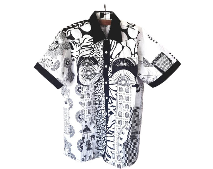 M, L, 3XL, 4XL. Beautiful african print. Unique shirt for men. Black and white cotton fabric. Patchwork shirt. Handmade in Ghana.