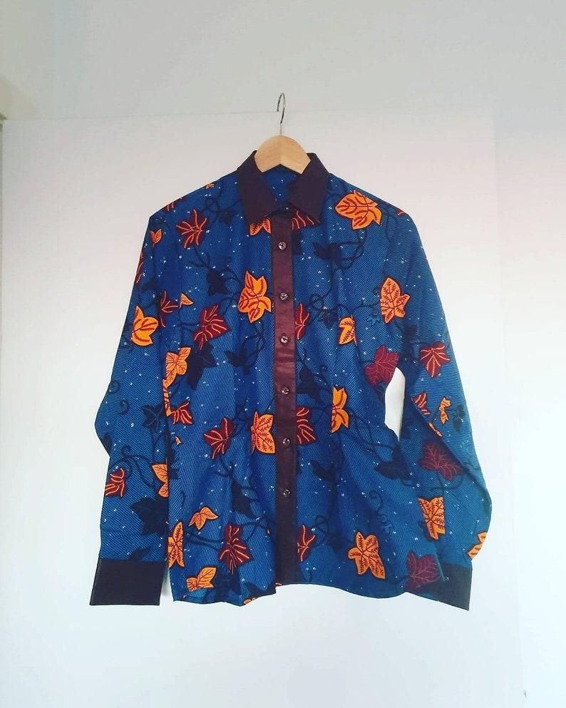 Made in Ghana. Batik Handmade and unique M African print womens shirt Wax africain 100/% cotton S GTP fabric Ankara