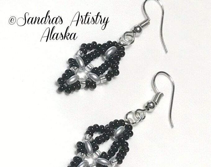 Beaded Earrings in Black-Silver  (Handmade and Designed)
