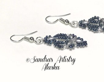Beaded Earrings in Pewter-Silver