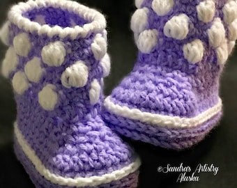 Lilac-White Polka Dot Booties (3 Infant Size Options)