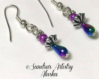 Beaded Earrings in Jewel Tones-Silver (Handmade and Designed)