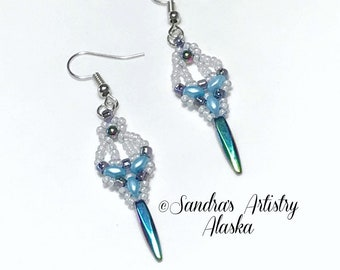 Beaded Earrings in Hematite-Blue-White