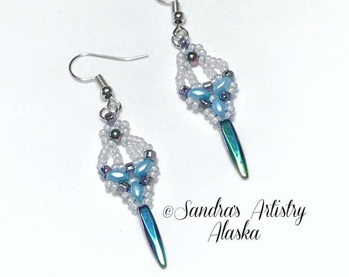 Beaded Earrings in Hematite-Blue-White