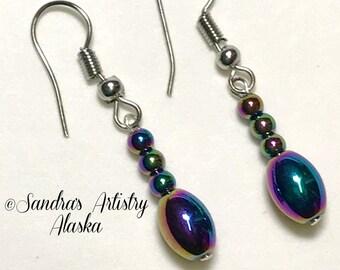 Beaded Dainty Earrings in Jewel Tones-Silver (Handmade and Designed)