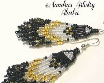 Beaded Earrings in Black-Gold-White (Handmade and Designed)