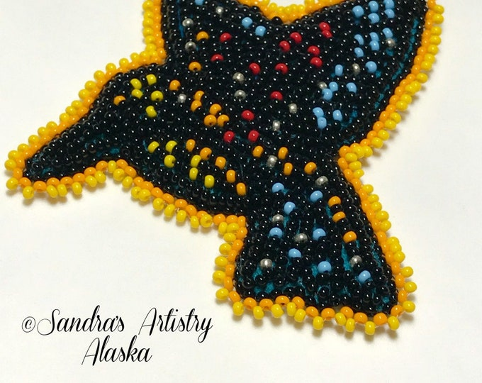 "Alaska Beaded Modern Hummingbird-3-1/2 L x 3-3/4 W"" in Czech Glass Beads"
