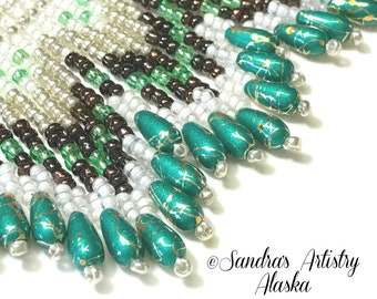 """Beaded Necklace-15"""" or extended to 16-1/2"""" Circumference-2-1/2"""" Drape"""
