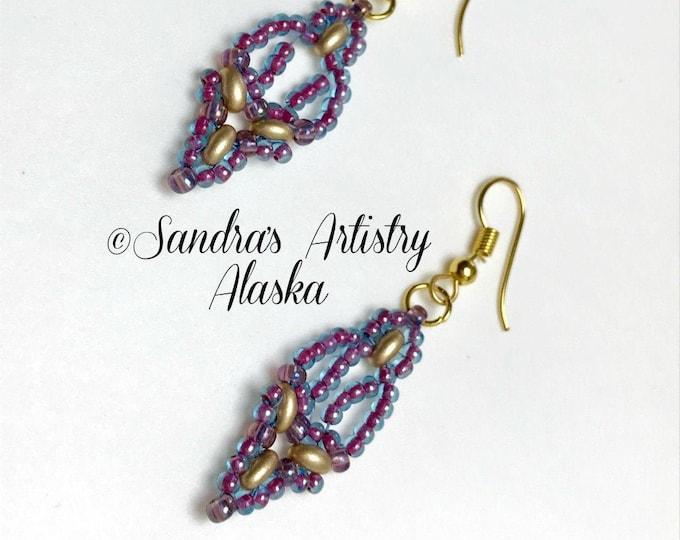 Beaded Earrings in Blue-Red=Purple-Gold