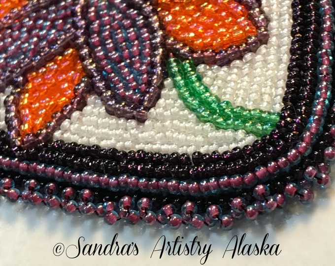 "Alaska Handmade Beaded Boardered Floral-5x3-5/8"" in Czech Glass Beads"