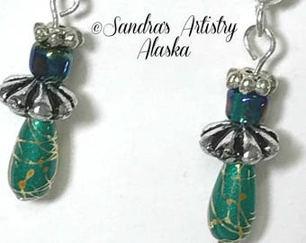 Beaded Earrings in Turquoise-Silver (Handmade and Designed)