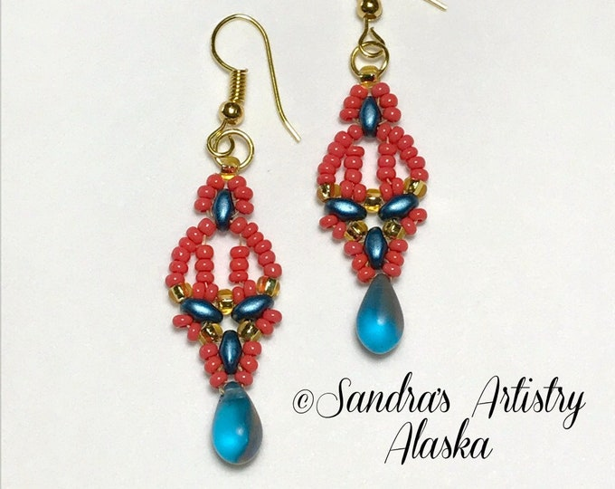 Beaded Earrings in Coral-Blues-Gold (Handmade and Designed)