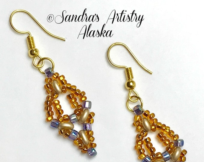 Beaded Earrings in Copper-Gold