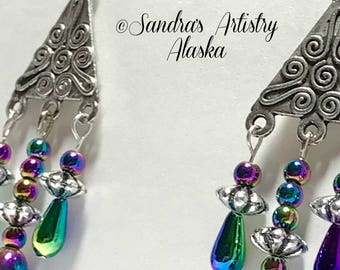 Beaded Chandelier Earrings in Jewel Tones (Handmade and Designed)