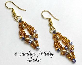 Beaded Earrings in Copper-Gold  (Handmade and Designed)