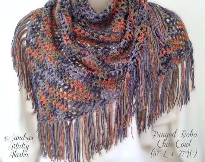 "Fringed Boho Chic Shawl (57""L x 27W"")"