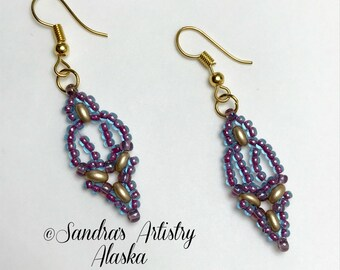 Beaded Earrings in Blue-Red=Purple-Gold  (Handmade and Designed)