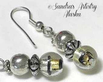 Beaded Earrings in Gold-Black-Silver (Handmade and Designed)
