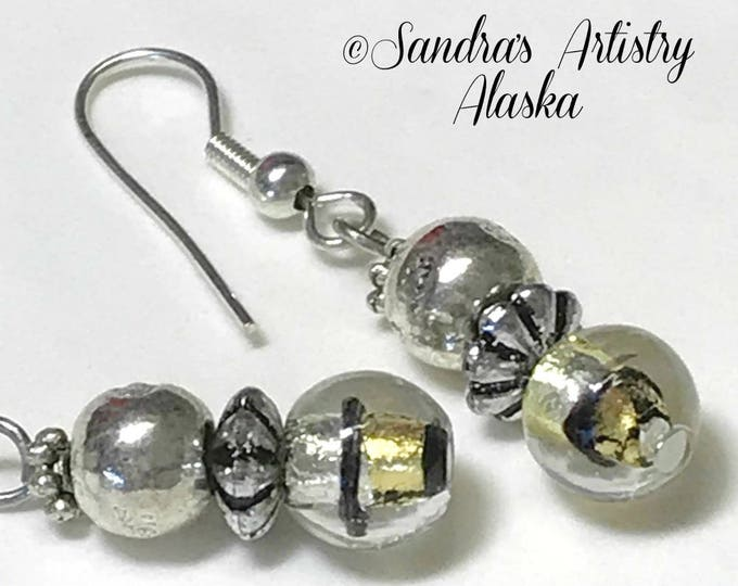 Beaded Earrings in Gold-Black-Silver (Handmade and Designed)