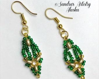 Beaded Earrings in Emerald Green-Gold