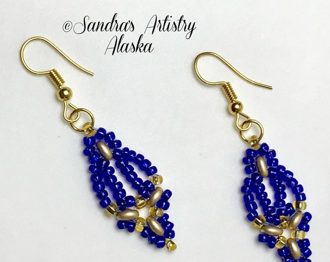 Beaded Earrings in Sapphire Blue-Gold