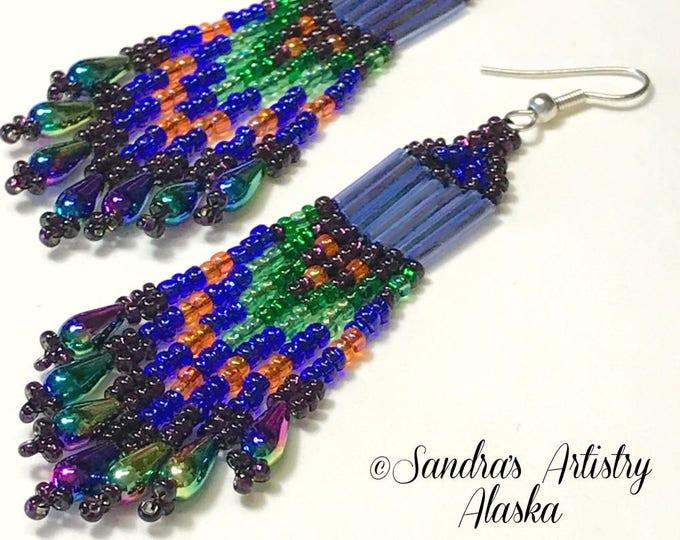 Beaded Earrings in Jewel Tones (Handmade and Designed)