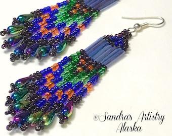 Beaded Earrings in Jewel Tones