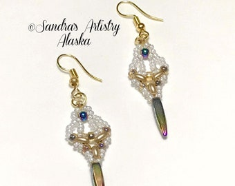 Beaded Earrings in Hematite-Gold-White  (Handmade and Designed)