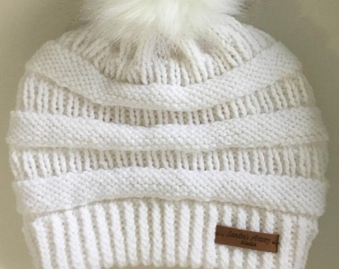 CC Hat-White slighly slouchy with Faux Fur Ball (Knit)-Adult Size