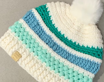 Ocean Shore By Day Hat/Beanie with Faux Fur Pom